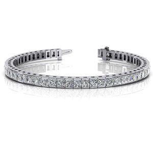 9 ct  Princess cut diamond tennis bracelet solid w